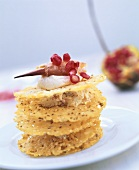 Crackers with crabmeat and soft cheese