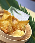 Fried wontons with shrimp and soft cheese filling