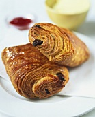 Two chocolate croissants