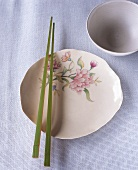 Flower-patterned plate, chopsticks and rice bowl