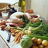 Hähnchen mit Speck und Gemüse
