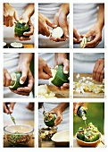 Making stuffed courgettes