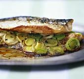 Mackerel fillet with Dijon mustard and leeks