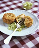 Salmon cakes with vegetables with cucumber salad