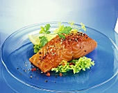 Smoked salmon fillet with salad garnish