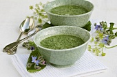 Borage soup in two bowls