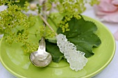 Swizzle sugar stick, teaspoon & lady's mantle on a saucer