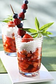 Strawberry soup with grated coconut and skewered berries