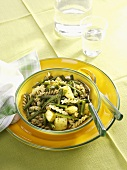Pasta alla ligure (Pasta with potatoes and beans, Italy)