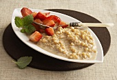 Espresso rice pudding with strawberries