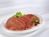 Three slices of eye of round (beef)