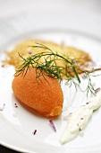 Caviar with cauliflower cream and potato rosti