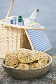 Dill cheese rolls and picnic basket