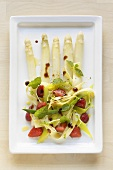 White asparagus with strawberry, vegetable & pasta salad