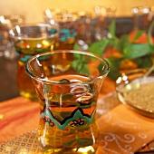Hot peppermint tea in a glass