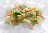 Frozen mixed vegetables in mist