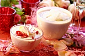 Almond cream with rose petals and gazpacho
