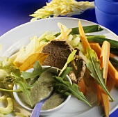 Beef fillet with rocket sauce