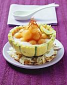 Galia melon with coconut soup