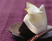 Passion fruit and coconut cream in a wedge of coconut