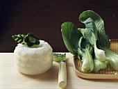 Carved kohlrabi and cucumber & pak choi