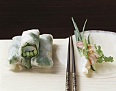 Rice paper rolls filled with freshwater prawns & vegetables