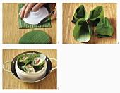 Making banana leaf baskets