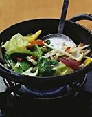 Stir-fried vegetables with ginger pesto