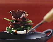 Beef with spring onions in oyster sauce