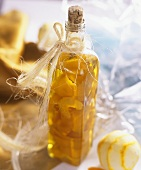 Home-made orange liqueur in the bottle