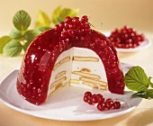 Charlotte with redcurrants in jelly