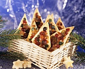 Pastry diamonds topped with candied fruit