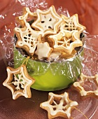 Pastry stars with white chocolate icing