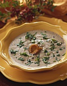 Creamed mushroom soup with tarragon
