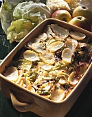 Cabbage and potato bake with duck confit
