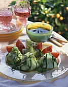 Cheese-filled cucumber parcels