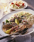 Poached sea bream with rice