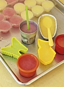 Home-made ice lollies in small moulds