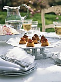 Mini crab cakes with tomato and ginger chutney