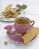 Hot chocolate and kolakakor (vanilla biscuits, Sweden)