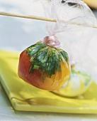 Vegetable stock in freezer bag ready for freezing
