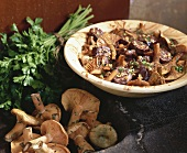 Pan-cooked chanterelles and black pudding