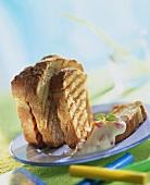 Toasted white bread with cherry vanilla sauce
