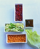 Red lentils, salad & marinated red kidney beans with peppers