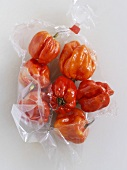 Red habanero chillies in a plastic bag