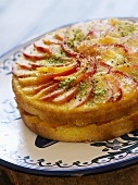 Peach cake with pistachios