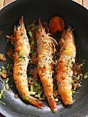 Fried king prawns with peppers