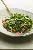 Rocket salad with chestnuts and pomegranate seeds