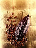 Whole cacao pod with cocoa beans
