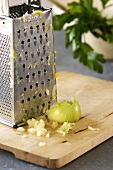 Grating an onion